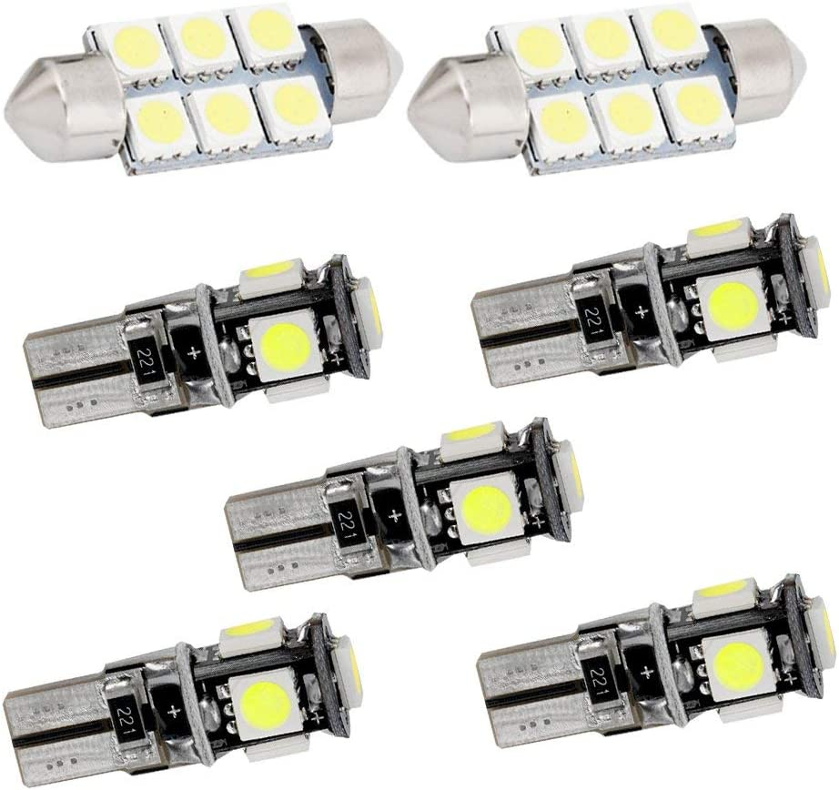 Longzhimei Car Interior Lights for A1 A4 LED Bulbs Replacement Car Dome Map Reading Light Kit 7Pcs White