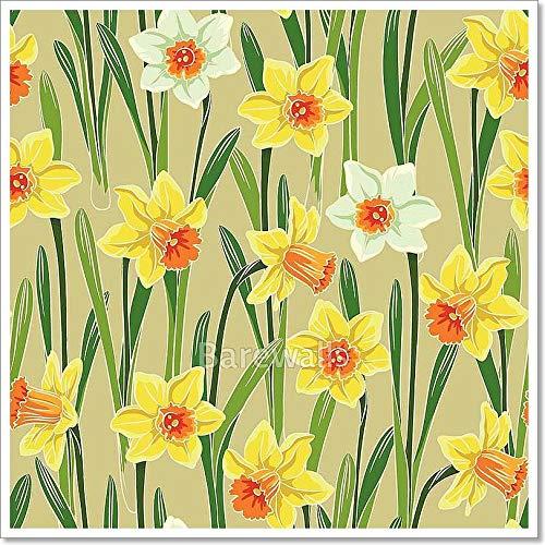 - Barewalls Yellow Jonquil Daffodil Narcissus Seamless Pattern Paper Print Wall Art (28in. x 28in.)
