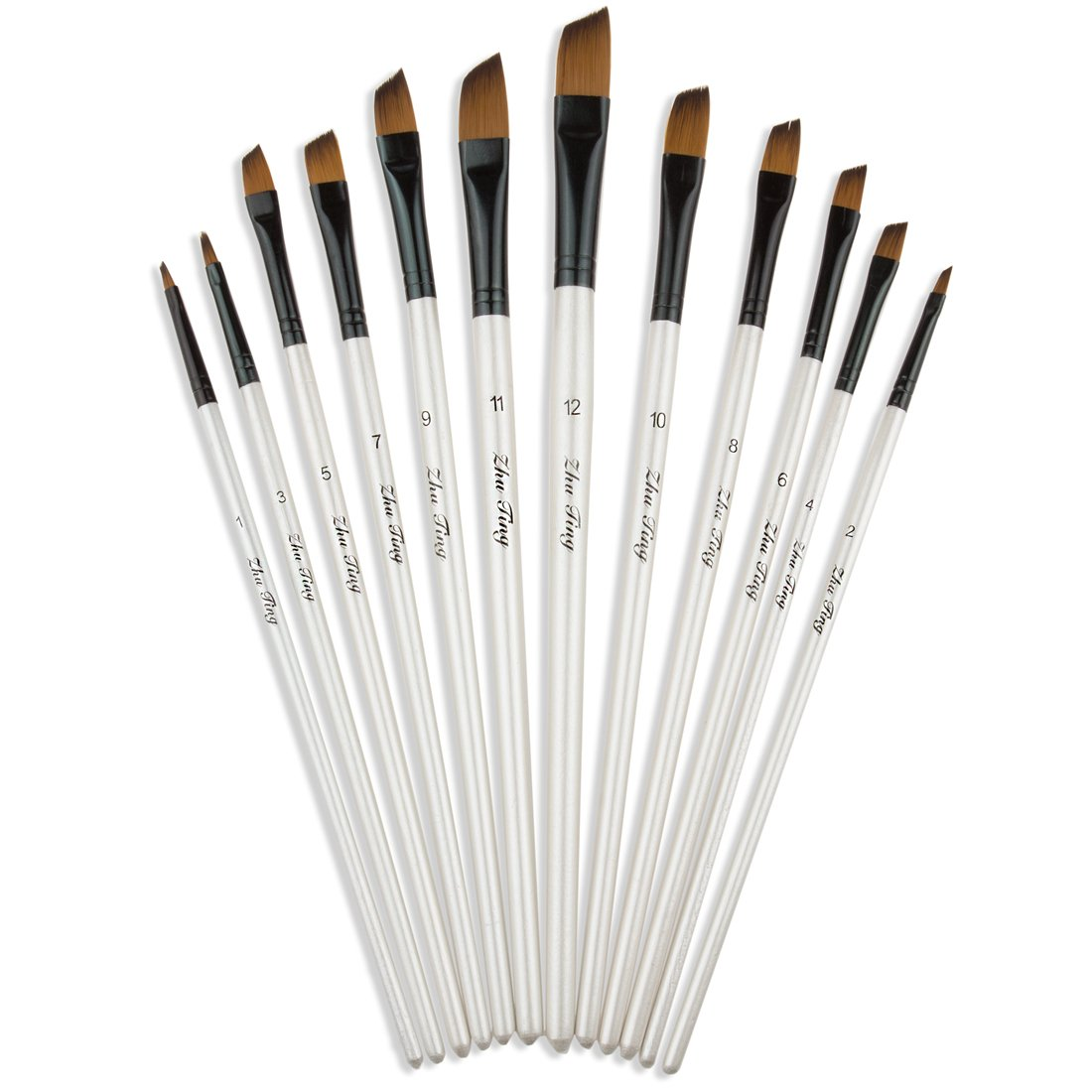 StarVast Painting Brushes, 12pcs Professional Angled Paint Brush Set for Watercolor/Oil/Acrylic/Crafts/Rock/Face Painting and Gouache - White 4336963467