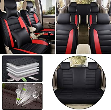 Airbag Compatible Car Seat Covers for Toyota Sienna 2015 7-Seat Custom PU Leather Front Rear Seat Pad All Season Protetion Full Set Easy Install Luxury Red