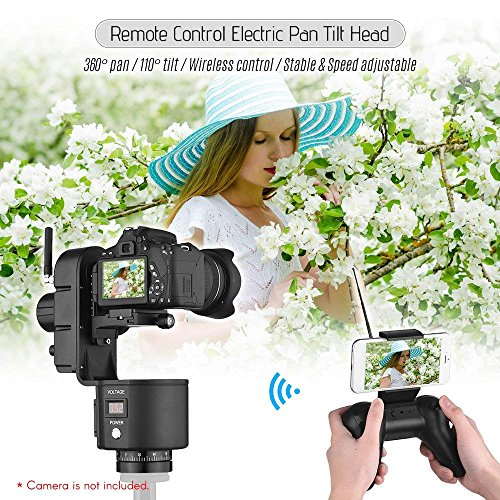 (ZIFON YT-3000 50m Remote Control Electronic Pan Tilt Head Motorized Panoramic Tripod Head Adjustable Speed 3kg Payload for Canon Nikon Sony DSLR WiFi Camera Photo Video Shooting OR169)