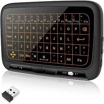 welltop Mini teclado inalámbrico con Touchpad 2,4 GHz recargable completo Touchpad Ratón Combo inalámbrico Backlit Inglés Layout Teclado para Android ...