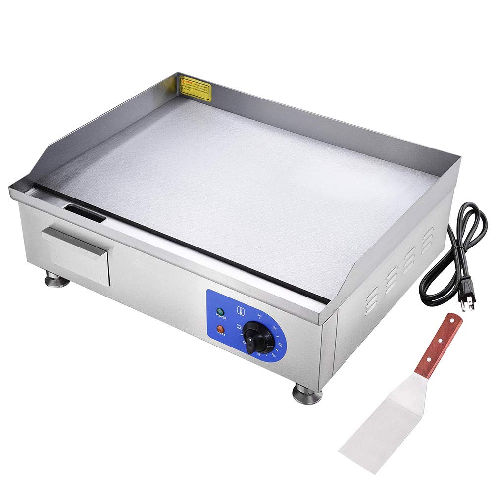 PNR 24'' 1500W Electric Countertop Griddle Stainless Steel Adjustable Temp Control Commercial Restaurant Grill