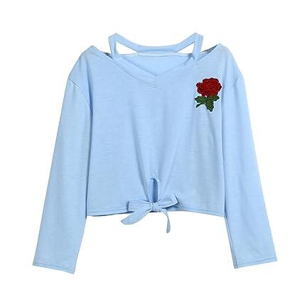 LILICAT® Rose con manga larga estampada para niñas adolescentes🌱 Top casual con blusas para