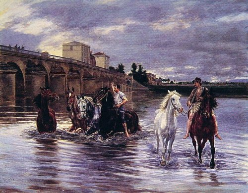 (Lucien Alphonse Gros Crossing the River - 21.05