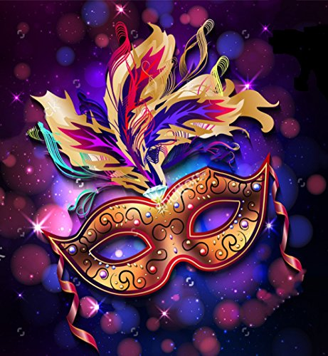 5x7ft Mardi Gras mask colorful poster photo backdrop portrait cloth Computer printed masquerade Backgrounds shu557360962 ()