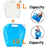 5/10 Litres Collapsible Water Container, Freezable, BPA Free Plastic Water Carrier Tank, Outdoor Folding Water Bag for Sport Camping Riding Mountaineer, Food Grade (5L Water Bag+10L Water Bag)