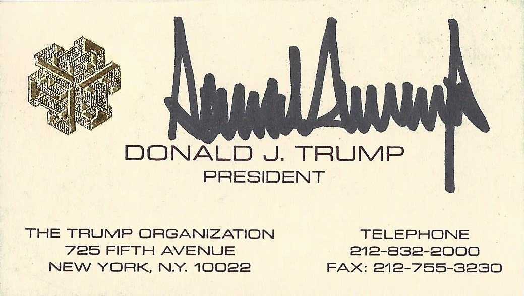 Autographed donald trump 2016 presidential candidate the trump autographed donald trump 2016 presidential candidate the trump ogranization rare chinese writing on back early vintage signed collectible business card colourmoves