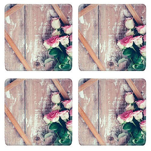 Old Fashioned Rose Bouquet (Luxlady Square Coasters IMAGE ID 31211338 Bouquet of pink roses and a wooden frame on old board background vintage color)