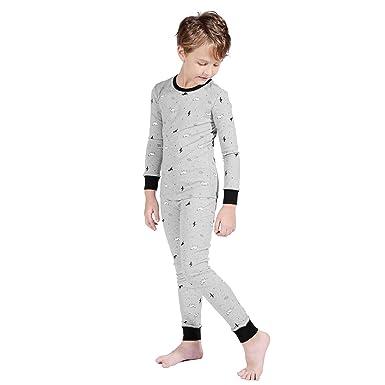 70e7862e0e TaiMoon Jungen Schlafanzug Set Dinosaurier Baumwolle Nachtwäsche Lange  Pyjama Anzug Alter 6 bis 14 Jahre alt
