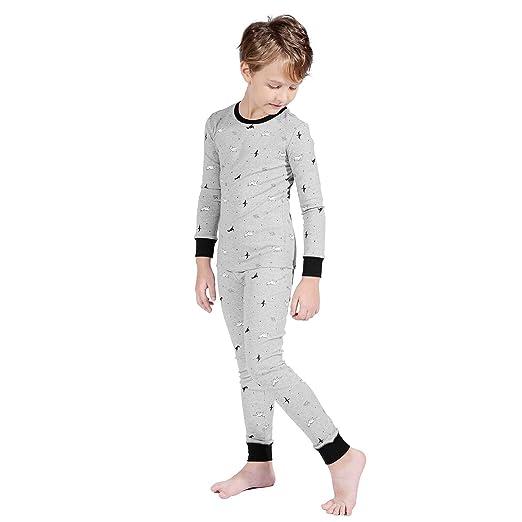 26e559a0 TaiMoon Boys and Girls Long Sleeve Pajamas Sets Sleepwear Nightwear 2 Piece  Pjs Set (5 To16 Years Old)