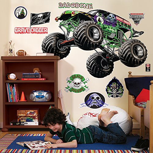 BirthdayExpress Monster Jam Room Decor - Grave Digger Giant Wall Decals (Monster Jam Grave Digger Birthday)