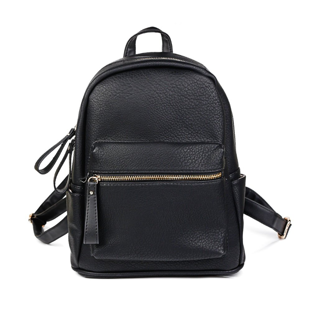 Women Backpack Purse PU Leather Simple Design Casual Daypack Fashion School Backpack for Girls Black by KORJO