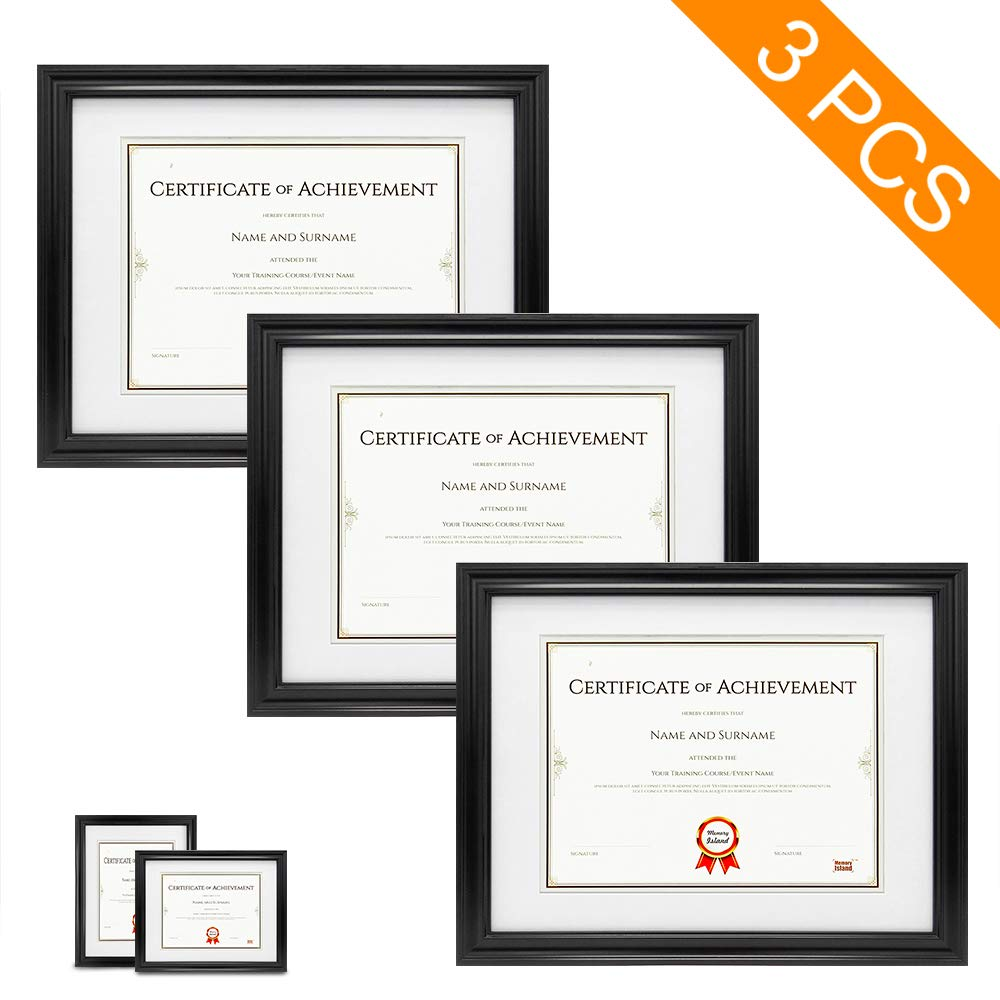 Memory Island , Document Frames 11x14 inch with 8.5x11 Mat, Set of 3 Pack Wall Mounting Certificate Frames Black. Wall Mounting Hardware Included, Vertical or Horizontal Display with Glass Fronts. by Memory Island
