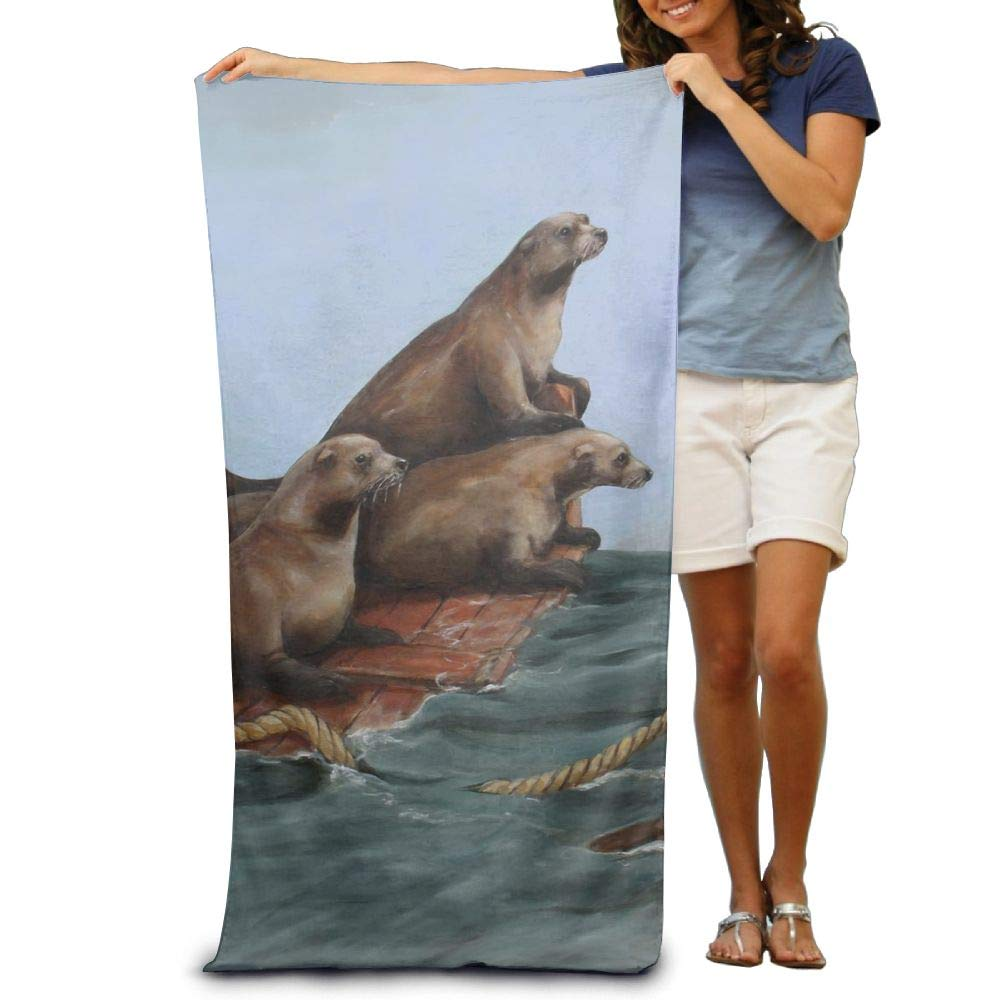 Super Absorbent Beach Towel Sea Wood Sea Lions Polyester Velvet Beach Towels 31.551.2 Inch