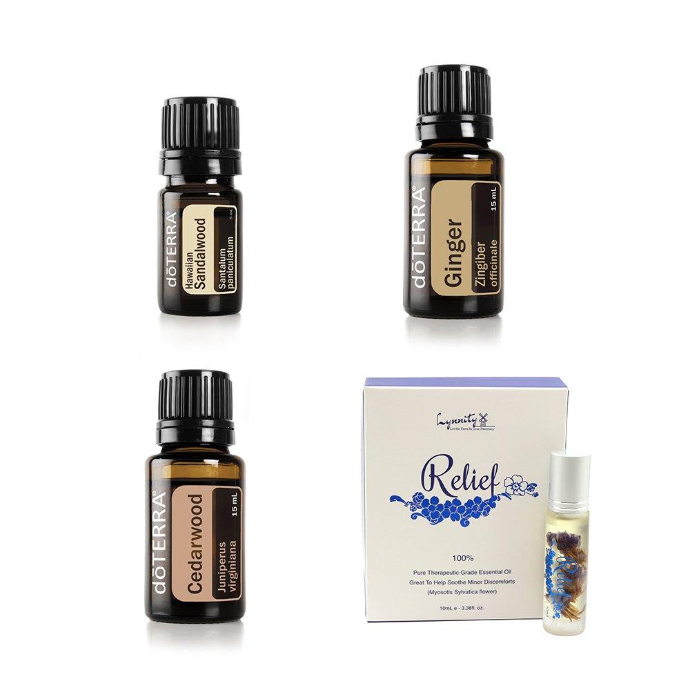 doTERRA Essential Oil Value Set [4 in 1 Started Kit] - Ginger 15ml + Hawaiian Sandalwood 5ml + Cedarwood 15ml + Lynnity Relief Panaway Roll On Essential Oil 10ml