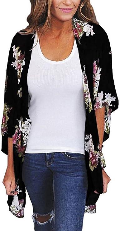 Womens Plus Size New Sheer Floral Print Kimono Cardi Jacket Top Ladies