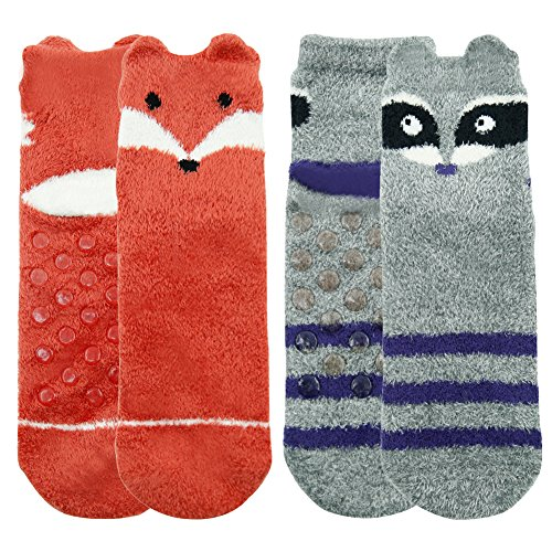 - Warm Fuzzy Socks,Womens Girls Super Soft Silky Plush Lovely Raccoon Fox Patterns Best Gift Anti-slip Winter Boat Socks Fashion Slipper Socks Vive Bears 2 Pairs