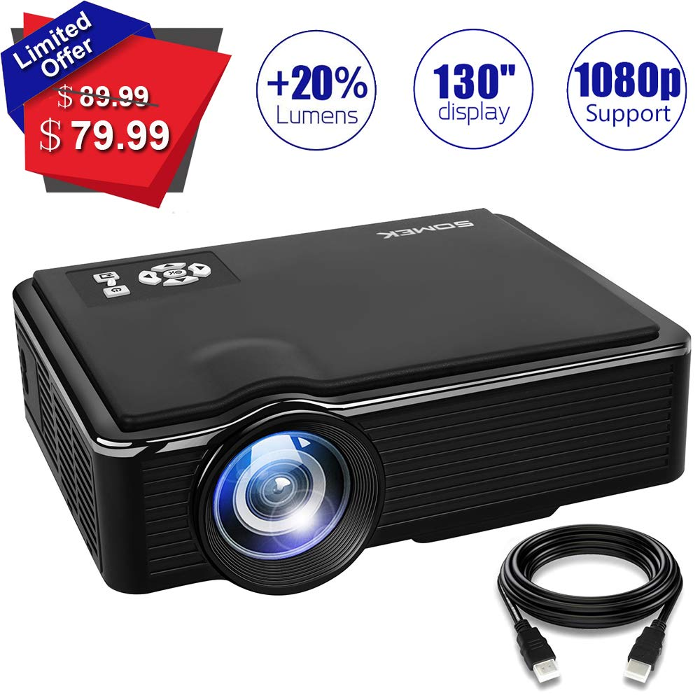 Home Theater Mini Projector- SOMEK 2400 lumen LED Portable Video Projector Support 1080P USB TF Card VGA AV HDMI, Outdoor Movie Projector HD for Laptop iPhone iPad Game DVD Player Amazon Fire TV Stick