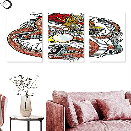 J Chief Sky Dragon Canvas Print Wall Art Traditional Chinese Creature Holding A Large Pearl Zodiac Signs Folk Tattoo Graphic Triptych Art Set Multicolor Triptych Art Canvas W 24