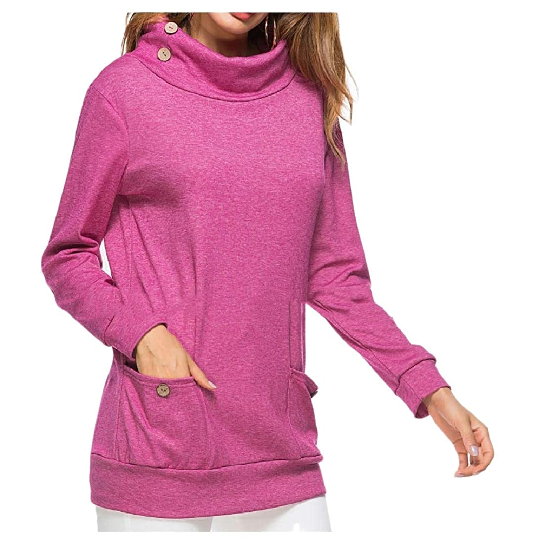 YUNY Women Polo Neck Solid Colored Pullover Buckle Sweatshirts with Pocket Purple M