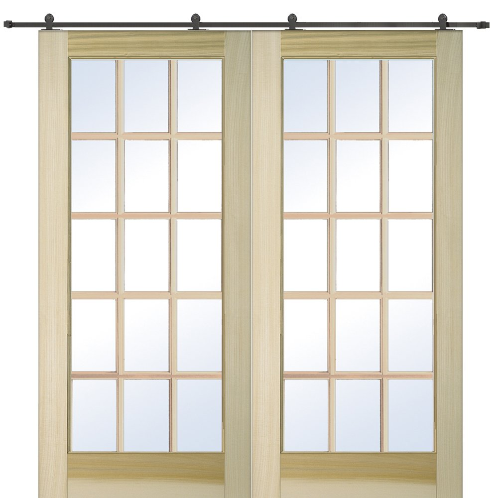 National Door Company Z009642 Unfinished Poplar Wood 15 Lite True Divided Clear Glass, 60'' x 80'', Barn Door Unit