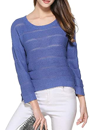 3b4ec0a5624 BYWX Women Casual Solid See-Through Crewneck Long Sleeve Pullover ...