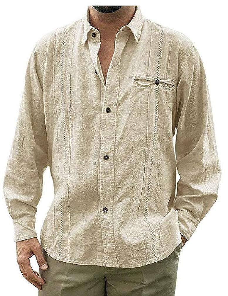 SportsX Mens Lapel Collar Casual Pure Color Long-Sleeve Slim Cotton Linen Shirts