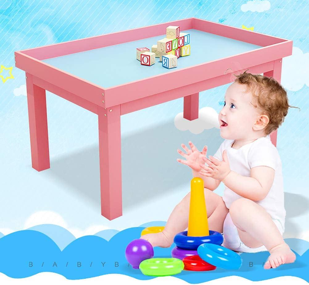 Mesa de Juego de Madera Maciza para niños, de la Marca Rock1on, para Sala de Juegos, guardería, Preescolar (Natural/Amarillo/Rosa): Amazon.es: Hogar