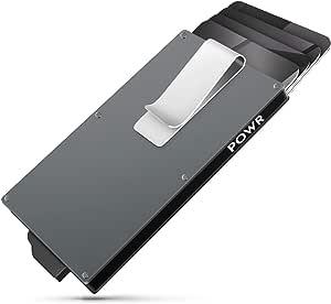 POWR Portatarjetas de Metal con Clip para Billetes, Tarjeta RFID sin Contacto para Hombres