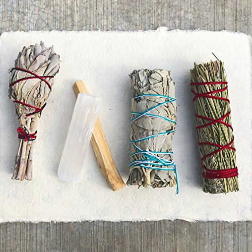 Sage Smudge Stick Kit - White Sage, Palo Santo, Mini Sage, Desert and Sweetgrass Smudging Sticks PLUS a Selenite Crystal & How to Guide for Cleansing your Home - Hand tied in California (Sage Bundle)