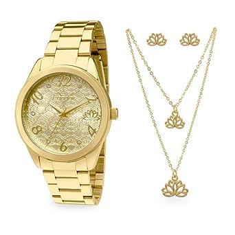 b0e33dd6156 Kit Relógio Condor Feminino Amuletos Co2036kom k4d - Dourado  Amazon ...