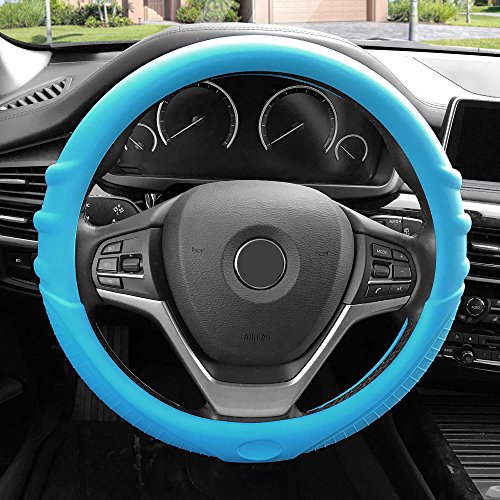 FH Group FH3003LIGHTBLUE Light Blue Steering Wheel Cover (Silicone W. Grip & Pattern Massaging grip Light Blue Color-Fit Most Car Truck Suv or Van)