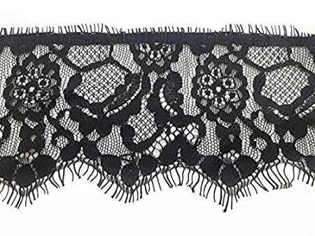 27 Meters Black Crochet Lace Trim 90mm Wide Vintage Floral Design