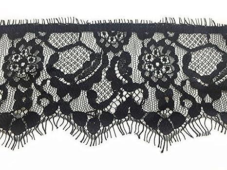 13084dbc9 2.7 Metros Negro croché Listón De Encaje 90mm Ancho - Vintage Diseño Floral  para costura