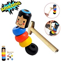 KolorFish Unbreakable Wooden Man Magic Trick, Immortal Daruma Magic Toy,Stubborn Wood Man Magic Trick Props for Parties