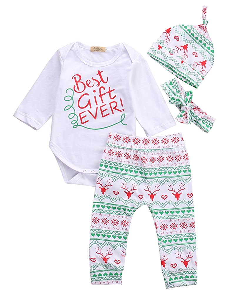 Baby Girls Toddler 4pcs Christmas Outfits Bodysuits Leggings Headband Caps Set