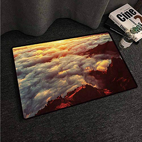 HCCJLCKS Welcome Door mat Clouds Sunset on The Hill Tops Above The Clouds Unusual Extreme Morning Glory Print Country Home Decor W16 xL24 Orange White Brown (Wwe Top 10 Returns Of All Time)