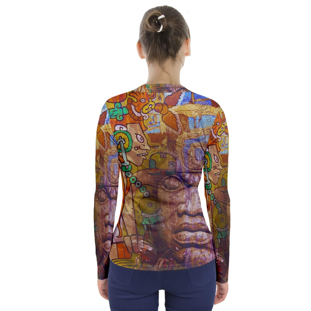 Dcustomwatch Ancient History graffity Relief Trippy Design Hip hop Full Print V-Neck Long Sleeve Top Women tees