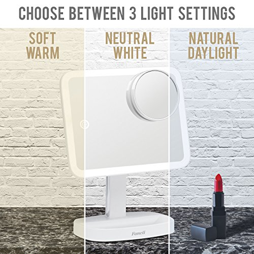 Fancii LED Makeup Vanity Mirror with 3 Light Setting and 15x Magnifying Mirror - Choose between Soft Warm, Natural Daylight, or Neutral White Lights - Dimmable Countertop Cosmetic Mirror - Aura by Fancii (Image #4)