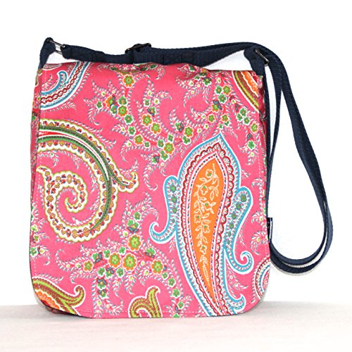 Small Messenger Satchel Cross Body Purse Handbag in Pink Paisley Print ()