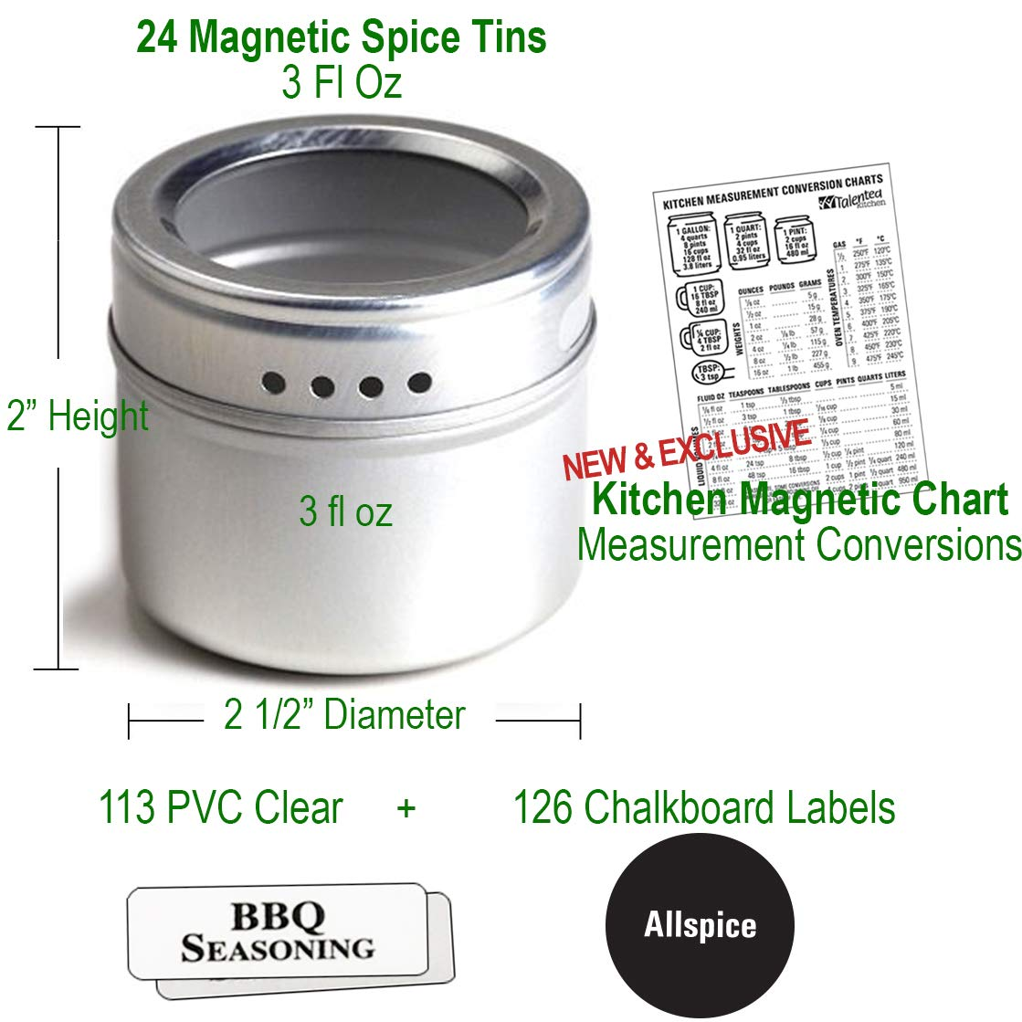 24 Magnetic Spice Tins & 2 Types of Spice Labels, Authentic by Talented Kitchen. 24 Storage Spice Containers, Window Top w/Sift-Pour. 113 Clear & 126 Chalkboard Stickers. Rack Magnetic On Refrigerator by Talented Kitchen (Image #5)