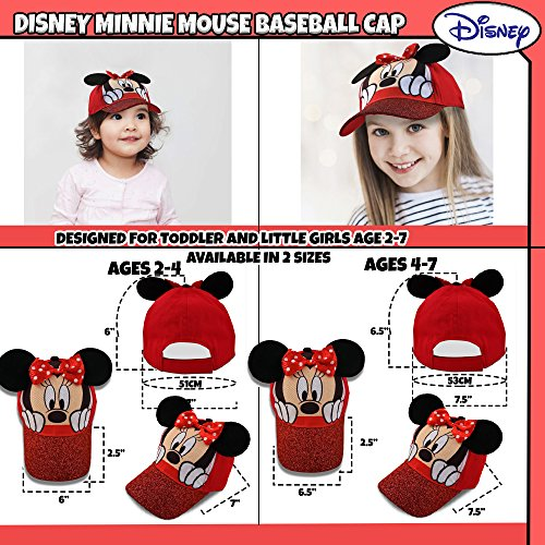 Disney Little Girls Minnie Mouse Character Cotton Baseball Cap, Age 2-7 (Little Girls - Age 4-7 - 53CM, Red) by Disney (Image #2)