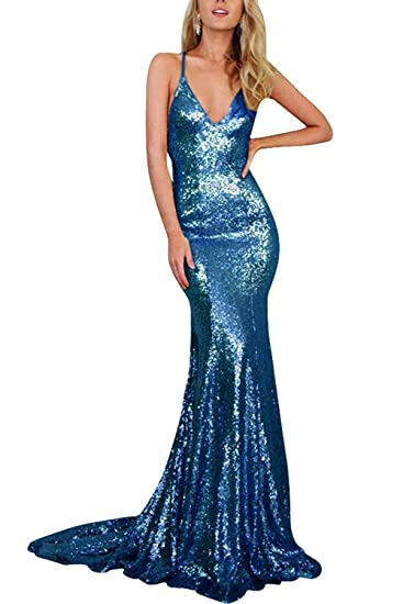 83588f01352f Promworld Women's Backless Sequin Sexy Mermaid Prom Dresses Long Blue US2