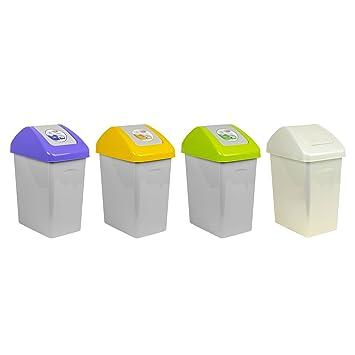 4 X 10L Set Mülleimer Gelb Grün Blau Creme Abfalleimer Schwingdeckel  Müllsammler Branq Mülltrenner Kunststoff