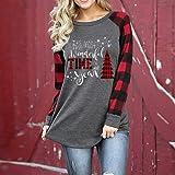 ZOMUSAR Womens Christmas Tops Sequin Reindeer