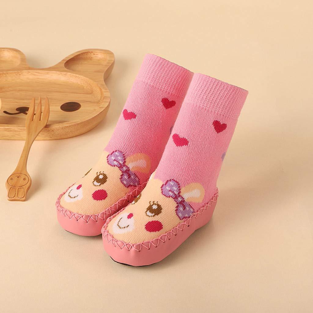Mysky Fashion Toddler Baby Boy Girl Cartoon Moccasins Non Slip Indoor Slippers Socks