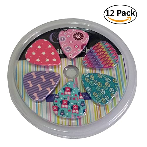 Girly Guitar Picks Set - Medium Celluloid 12-pack - Unique Colorful Designs