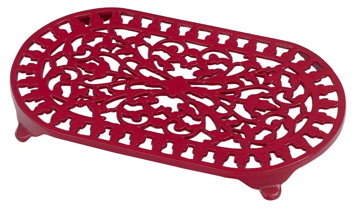 Victor Large Oval Trivet in Chilli Red