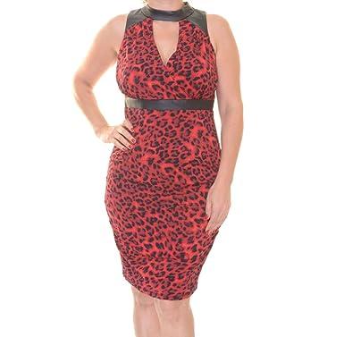 Thalia Sodi Womens Animal Print Halter Party Dress Red M